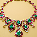 A superb emerald, ruby and diamond necklace, by bvlgari