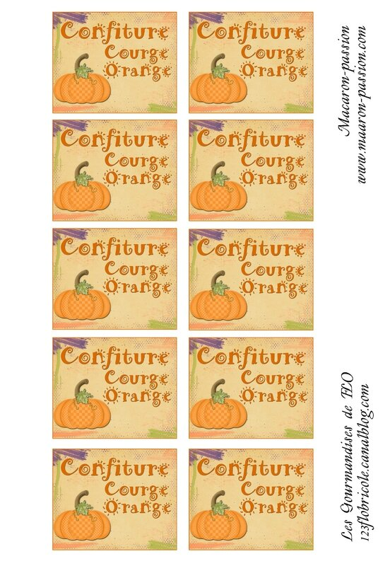 étiquettes confiture courge orange