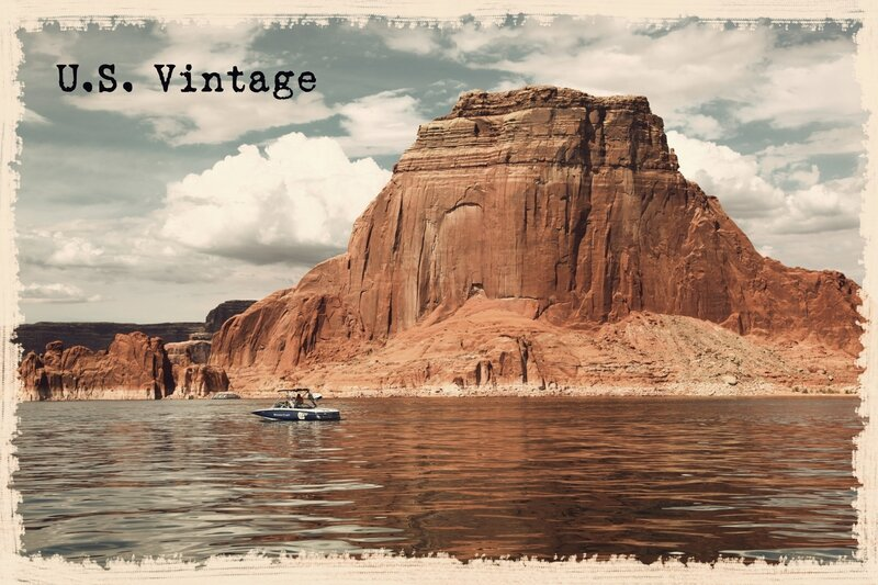 us vintage Lake Powell boat reflection