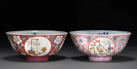 Two_famille_rose_enameled_bowls_with_underglaze_blue_decoration