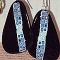 BO pate polymere , cane bettina welker, bettina welker canr on black polymer clay earrrings