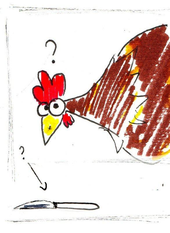 une poule rencontre un couteau