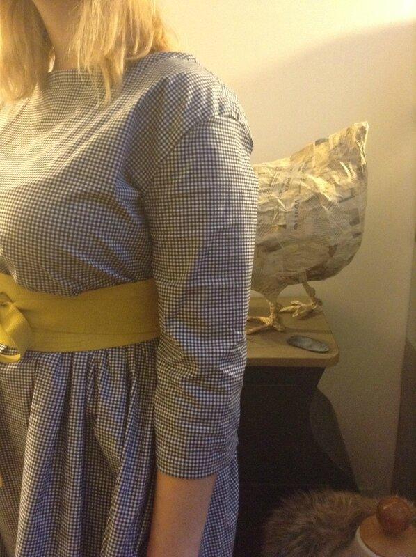 Robe RAYMONDE en coton vichy noir et blanc à manches 3 quart - taille 40 (10)