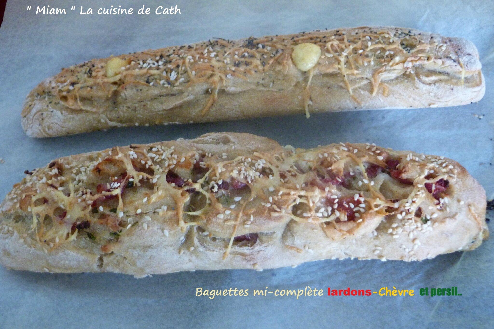 """ღ """" MIAM """" Baguettes mi-complète lardons-Chèvre et persil.."""