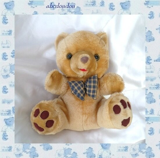 Doudou Peluche Ours Assis Marron Noeud Carreaux Vit'anime