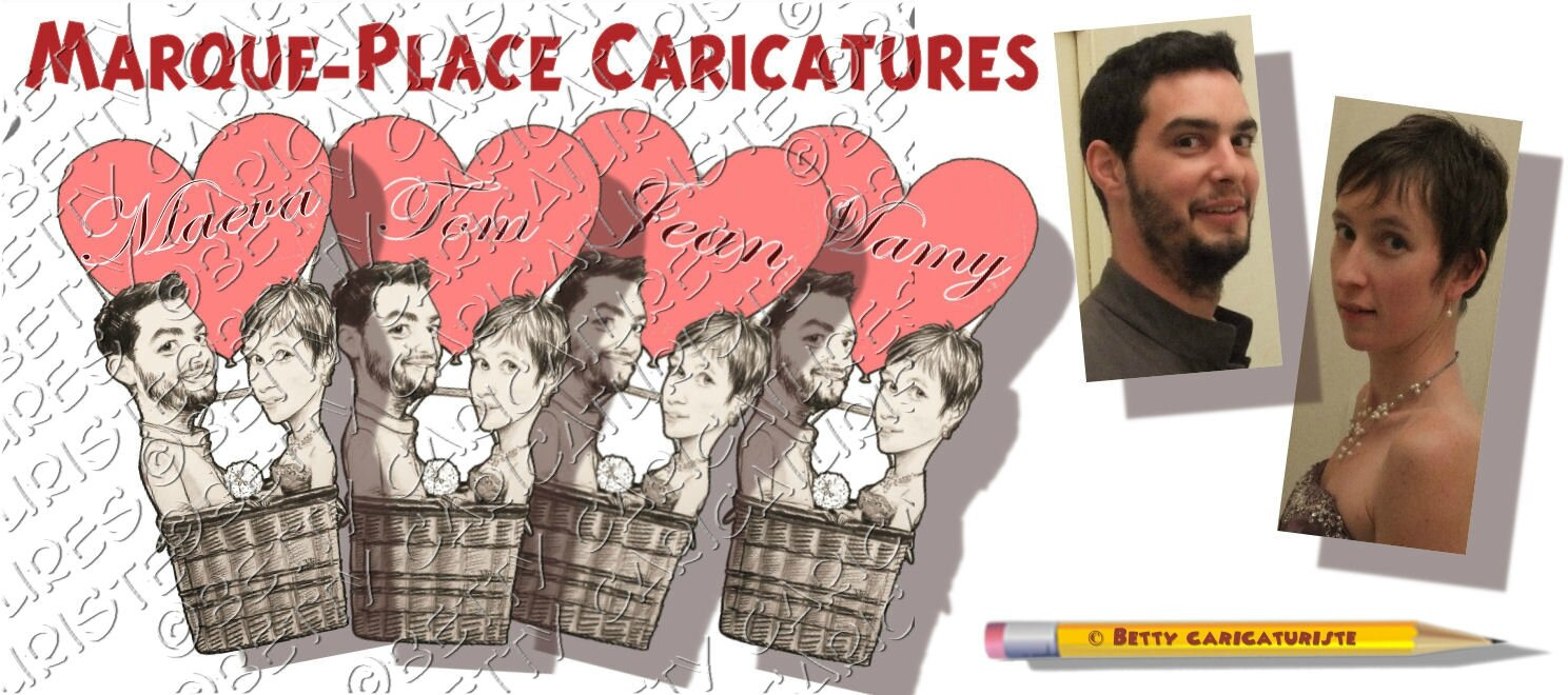 marque place invit s montgolfi re coeur caricaturiste betty caricatures. Black Bedroom Furniture Sets. Home Design Ideas