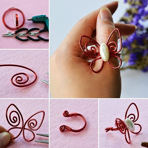 600-Wire-Jewelry-DIY---How-to-Make-a-Red-Handmade-Wire-Wrapped-Butterfly-Ring
