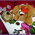 Ballottine d'aubergine, farcie à la viande dans sa robe de dentelle