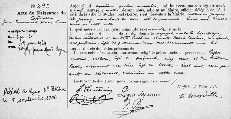 Jean Condamin acte de naissance