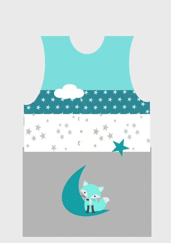 ok gigoteuse bébé renard étoile lune nuage émeraude lagon gris blanc