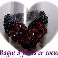 Bague 3 fleurs en coeur