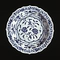 A blue and white small barbed-rim dish. ming dynasty, yongle period. british museumthed by henry j oppenheim. british museu