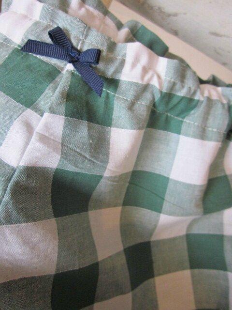 Culotte BIANCA en coton gros vichy vert - noued marine (1)