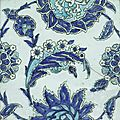 An iznik blue and white pottery tile, turkey, 17th century