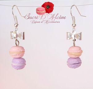 Boucles d'oreilles Duo de macarons fraise-mûre (3)