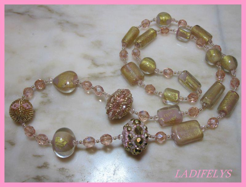 623 collier perles façon Murano rose