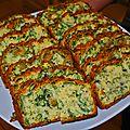 Cake à la roquette, gruyère et olives vertes