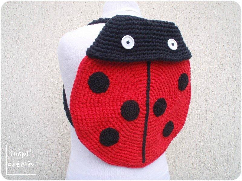 Sac dos coccinelle au crochet inspirations cr atives - Tuto pour creer un sac en crochet ...
