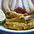 Bata bata et ailes de poulet au curcuma