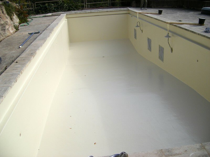 R novation sur piscine en b ton peinture album photos for Piscine en beton