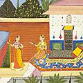 The heroine sends for her love. an illustration to a ragamala series. india, deccani artist in udaipur, c. 1650