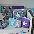 pochons rangement réversibles étoiles nuage rêve turquoise gris violet liberty mauvey blanc 2