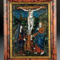 mail polychrome reprsentant la Crucifixion. Limoges, fin du XVIIe sicle