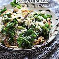 Riz au kale, noix et shiitake