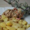 Lapin à la sauge et au vin blanc avec ses pommes de terre sans glute ni produits laitiers