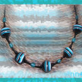Collier Fimo perles rondes rayées noires turquoise (N)