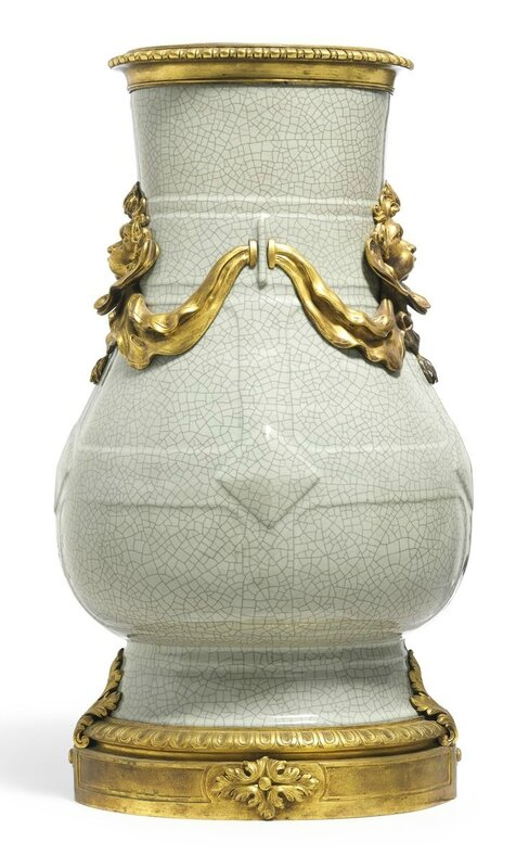 A massive ormolu-mounted 'ge'-type vase, hu, Seal mark and period of Yongzheng