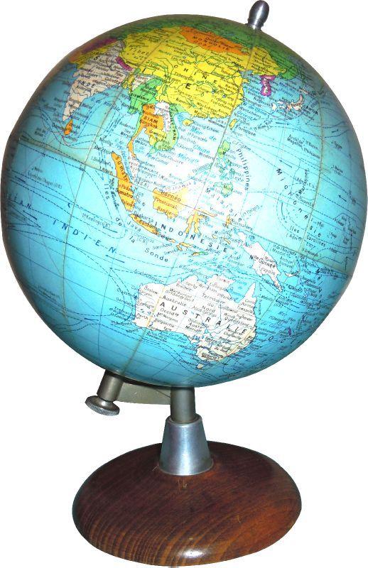 Mappe monde globe terrestre retro cosy - Globe terrestre en carton ...
