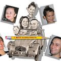 Caricature d'une famille en 2cv Citron
