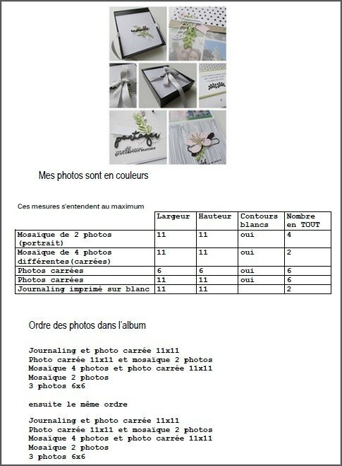 Liste des photos