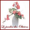 composition florale - vase pastille et orchidées