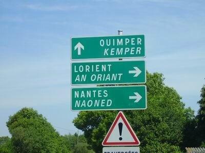 Bretagne Panneau- routier bilingues