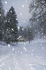 chaumière sous la neige