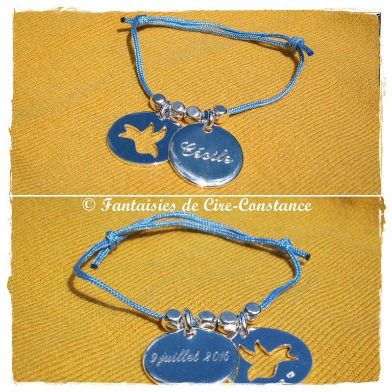 Bracelet Colombe Cécile argent perles nylon