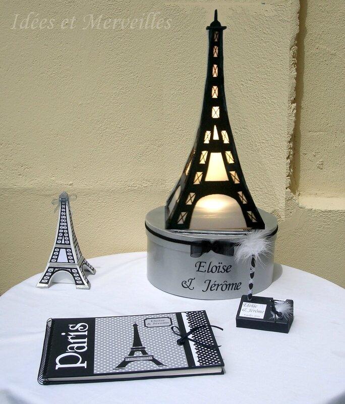 D coration de mariage th me paris en noir et blanc et gris idees et merve - Deco mariage theme paris ...