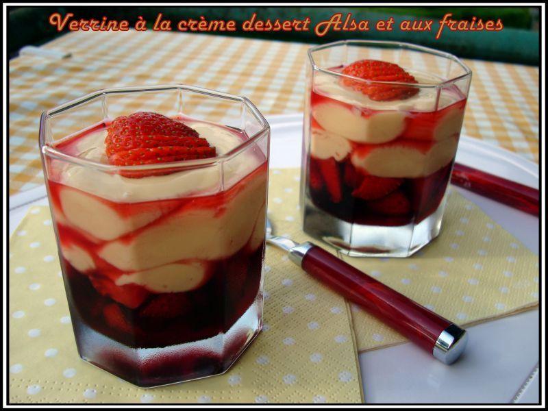 Verrine à la crème dessert Alsa et aux fraises