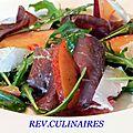Salade de bresaola, roquette, parmesan et nectarine
