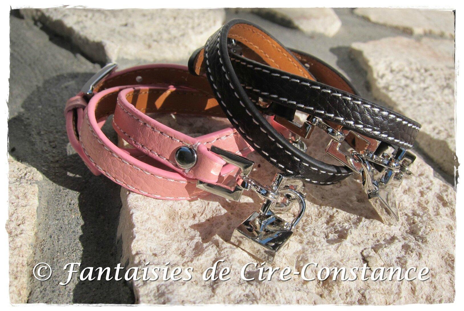 Bracelets Cadenas cuir triple tour rose et marron foncé