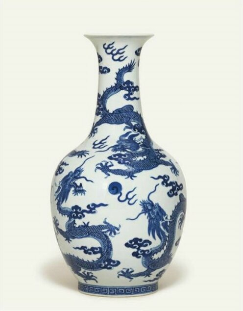 A blue and white 'Six-dragon' vase, shendetang zhi four-character mark in iron-red, Daoguang period (1821-1850)