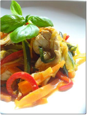 Wok poulet légumes