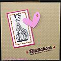 carte de naissance fille avec Sophie la Girafe coeur rose