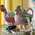 Two Chinese Export Porcelain Famille-Rose Cockerel-Form Teapots And Covers. Qing Dynasty, 18th Century