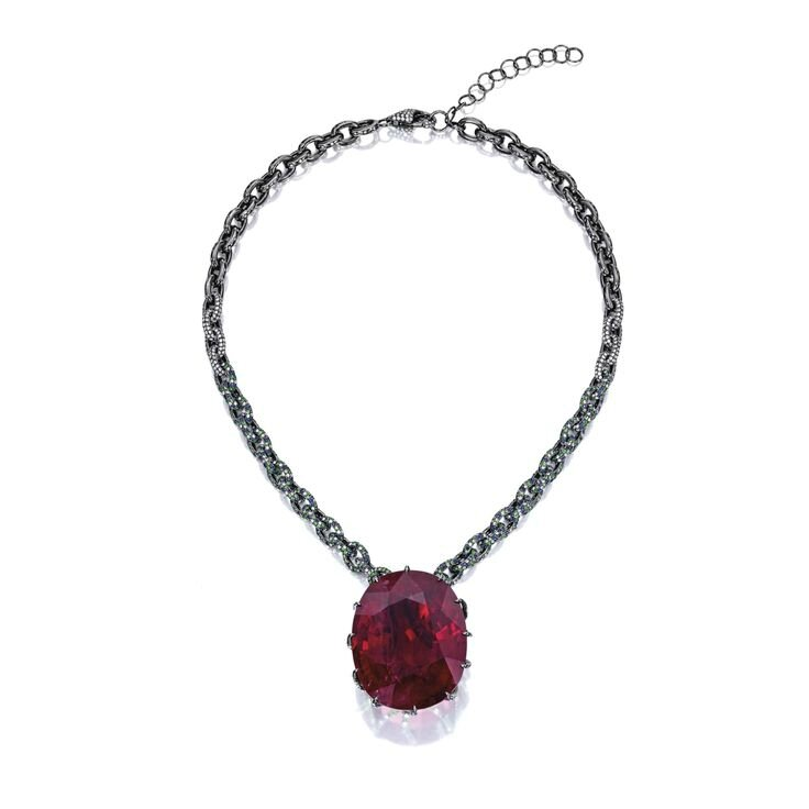 Rubellite, Coloured Stone and Diamond Necklace