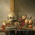 Harmen steenwyck, (1612-1656), vanitas avec crâne, livres et fruits, 1630