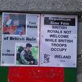Affiche de protestation contre la visite de la reine en Irlande, Bundoran
