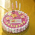 Gâteau d' anniversaire juliette 3 ans ( sucettes et moulins à vent )